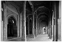 Arches and prayer hall, Dargah mosque. Fatehpur Sikri, Uttar Pradesh, India ( black and white)