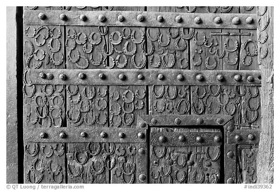 Detail of door with horseshoes, Dargah (Jama Masjid) mosque. Fatehpur Sikri, Uttar Pradesh, India (black and white)