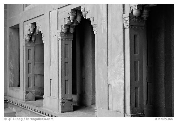 Facade detail of the Treasury building. Fatehpur Sikri, Uttar Pradesh, India (black and white)