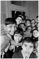 Group of schoolboys in front of Rumi Sultana. Fatehpur Sikri, Uttar Pradesh, India (black and white)