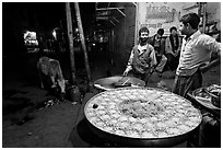 Food vendors by night. Bharatpur, Rajasthan, India (black and white)