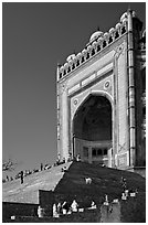 Buland Darwaza (Victory Gate), Asia's largest, Dargah mosque. Fatehpur Sikri, Uttar Pradesh, India ( black and white)
