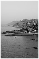 Coastline with palm trees, Dona Paula. Goa, India ( black and white)