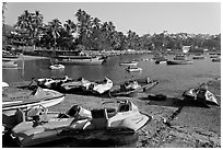 Jetboats, Dona Paula harbor. Goa, India ( black and white)