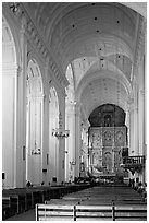 Nave and altar of Se Cathedral , Old Goa. Goa, India ( black and white)