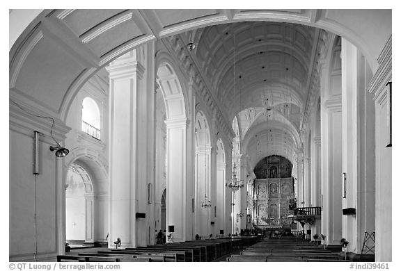 Nave of Se Cathedral , Old Goa. Goa, India (black and white)