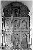 Main altar, dedicated to St Catherine of Alexandria, Se Cathedral , Old Goa. Goa, India ( black and white)