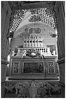 Three-tiered marble tomb of St Francis, Basilica of Bom Jesus, Old Goa. Goa, India ( black and white)