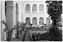 Garden in courtyard of Basilica of Bom Jesus, Old Goa. Goa, India ( black and white)