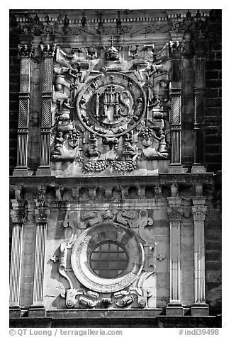 Facade decor, Basilica of Bom Jesus, Old Goa. Goa, India (black and white)