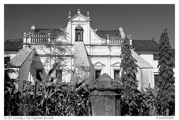 Church and convent of St Monica, Old Goa. Goa, India (black and white)