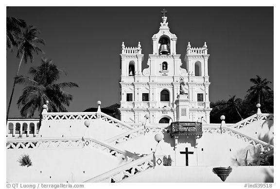 Church of our Lady of the Immaculate Conception, afternoon, Panaji. Goa, India (black and white)