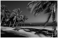 Miramar Beach at twilight. Goa, India ( black and white)