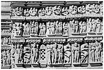Carvings, Parsvanatha temple, Eastern Group. Khajuraho, Madhya Pradesh, India (black and white)