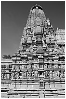 Parsvanatha, the largest of the Jain temple, Eastern Group. Khajuraho, Madhya Pradesh, India (black and white)