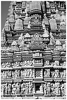 Temple detail, Parsvanatha temple, Eastern Group. Khajuraho, Madhya Pradesh, India (black and white)