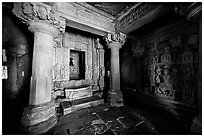 Jain temple interior, Parsvanatha temple, Eastern Group. Khajuraho, Madhya Pradesh, India (black and white)