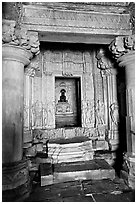 Columns and inner sanctum  with black image of Parsvanatha, Parsvanatha temple, Eastern Group. Khajuraho, Madhya Pradesh, India (black and white)