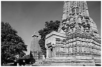 Parsvanatha and Adinath Jain temples, Eastern Group. Khajuraho, Madhya Pradesh, India (black and white)