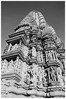 Bands of sculptures and sikhara, Javari Temple, Eastern Group. Khajuraho, Madhya Pradesh, India (black and white)