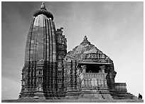 Vamana temple, Eastern Group, late afternoon. Khajuraho, Madhya Pradesh, India (black and white)