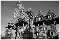 Lakshmana temple, early morning. Khajuraho, Madhya Pradesh, India ( black and white)