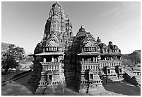 Lakshmana temple seen from Matangesvara temple. Khajuraho, Madhya Pradesh, India (black and white)