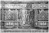 Temple carving detail, Lakshmana temple. Khajuraho, Madhya Pradesh, India (black and white)