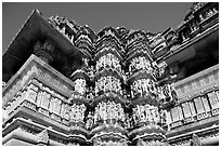 Decorated columns and halls, Kadariya-Mahadev. Khajuraho, Madhya Pradesh, India (black and white)