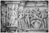 Apsaras and mithuna, Kadariya-Mahadeva temple. Khajuraho, Madhya Pradesh, India (black and white)