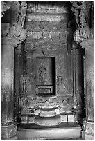 Columns and inner sanctum (garbhagriha) of Lakshmana temple. Khajuraho, Madhya Pradesh, India (black and white)