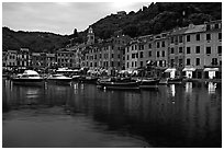 Harbor and hills at dusk, Portofino. Liguria, Italy (black and white)