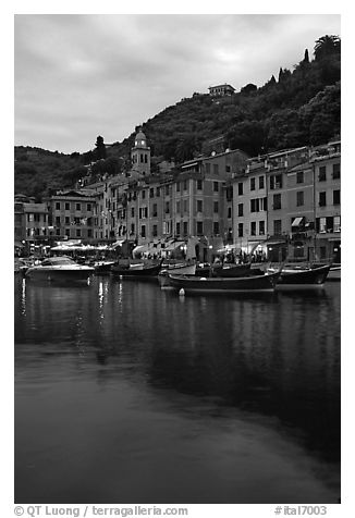 Yachts and fishing boats in Harbor at dusk, Portofino. Liguria, Italy (black and white)