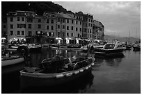 Old harbor at dusk, Portofino. Liguria, Italy (black and white)