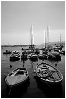 Small boats in harbor, La Spezia. Liguria, Italy ( black and white)