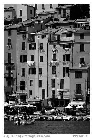 Pastel-colored houses and harbor, Porto Venere. Liguria, Italy (black and white)