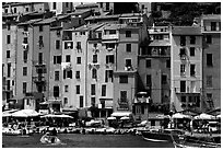 Harbor and townhouses, Porto Venere. Liguria, Italy (black and white)