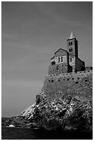 Chiesa di San Pietro (1277) in Genoese Gothic fashion with black and white bands of marble, Porto Venere. Liguria, Italy (black and white)