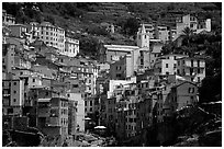 Jumble of houses, Riomaggiore. Cinque Terre, Liguria, Italy (black and white)