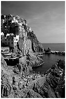Sunbathers in Manarola. Cinque Terre, Liguria, Italy (black and white)