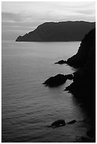 Cliffs at sunset near Vernazza. Cinque Terre, Liguria, Italy (black and white)