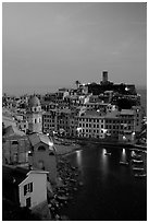 Port and Castello Doria, dusk, Vernazza. Cinque Terre, Liguria, Italy (black and white)