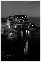 Harbor and Castello Doria, dusk, Vernazza. Cinque Terre, Liguria, Italy (black and white)