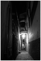 Narrow street at night, Vernazza. Cinque Terre, Liguria, Italy ( black and white)