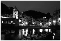 Harbor and seaside Piazza Guglielmo Marconi at night, Vernazza. Cinque Terre, Liguria, Italy (black and white)