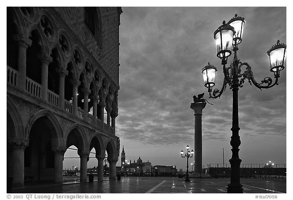 Lamp column with lion piazza san marco square saint mark at dawn