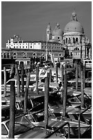 Water taxis and Santa Maria della Salute church, early morning. Venice, Veneto, Italy (black and white)