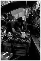 Selling fruit and vegetable from a boat on a small  canal, Castello. Venice, Veneto, Italy (black and white)