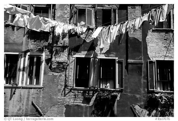 Hanging Laundry and walls, Castello. Venice, Veneto, Italy (black and white)