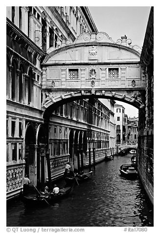 Bridge of Signs. Venice, Veneto, Italy (black and white)